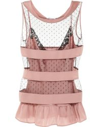 Moschino Striped Silksatin and Tulle Top pink - Lyst