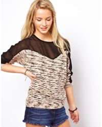 ASOS Collection Jumper with Chiffon Inserts - Lyst