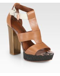 Boutique 9 | Raffiatrimmed Leather Sandals | Lyst