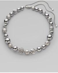David Yurman - Sterling Silver Bead Necklace/16 - Lyst