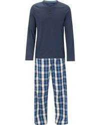 John Lewis Plain Top and Check Lounge Trousers