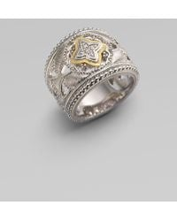Judith Ripka | White Sapphire Sterling Silver 18k Yellow Gold Ring | Lyst