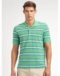 Lacoste Striped Polo - Lyst