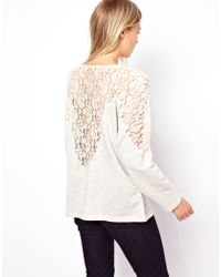 ASOS Collection Jumper with Lace Insert white - Lyst