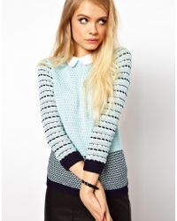 ASOS Collection Striped Collared Jumper blue - Lyst