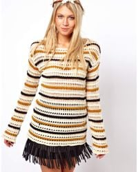 ASOS Collection Striped Open Knit Jumper with Back Detail multicolor - Lyst