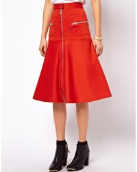 ASOS Collection A-Line Skirt with Chunky Zip Detail - Lyst