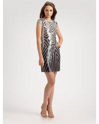 BCBGMAXAZRIA Geometric Sequined Crewneck Dress - Lyst