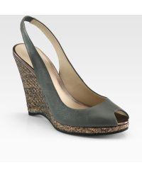 Elie Tahari - Whitney Leather Metallic Raffia Wedge Sandals - Lyst