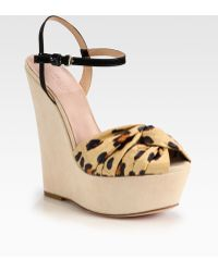Giambattista Valli Leopardprint Satin Suede Wedge Sandals - Lyst