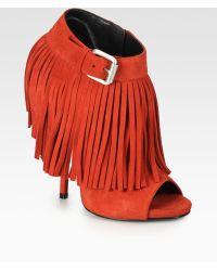 Giuseppe Zanotti Suede Fringe Platform Ankle Boots - Lyst