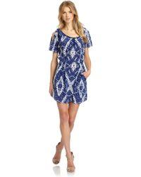 Rebecca Taylor Batik Silk Cutout Shoulder Dress - Lyst