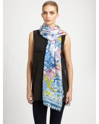 Roberto Cavalli Silk Nausica Printed Scarf - Lyst