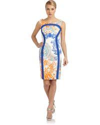 Versace Contoured Printed Sheath Dress - Lyst