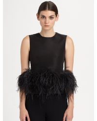 Alexander McQueen Feather Trimmed Silk Top - Lyst