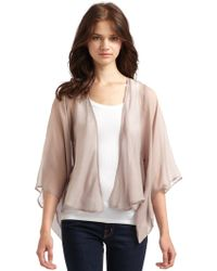 Charlie jade Silk Chiffon Cardigan in Natural | Lyst