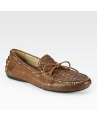 Frye - West Woven Leather Drivers - Lyst