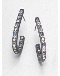 M.c.l  Matthew Campbell Laurenza Blue Sapphire, White Topaz, Blue Topaz & Sterling Silver J-Hoop Earrings - Lyst
