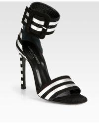 Saint Laurent Paloma Metallic Leather Suede Ankle Strap Sandals - Lyst