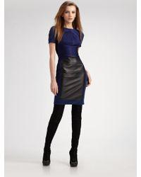 Versace Faux Leather Panel Dress - Lyst