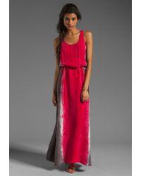C&C California Tie Waist Maxi in Fuchsia red - Lyst