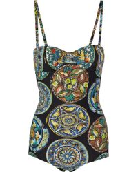 Dolce & Gabbana Printed Underwired Swimsuit - Lyst