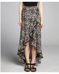 Dress the Population - Black and Cream Lace Print Chiffon High-Low Aubrey Skirt - Lyst