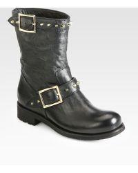 Jimmy Choo Dash Studded Leather Biker Boots - Lyst