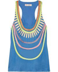 Mara Hoffman Embroidered Twill Tank blue - Lyst