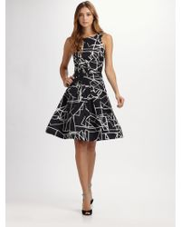 Oscar de la Renta Scribble Print Silk Dress - Lyst