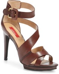 Red Saks Fifth Avenue Whimsical Leather Strappy Sandals - Lyst