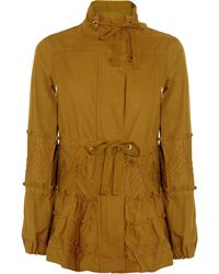 RED Valentino Pintucked Cotton-Drill Jacket brown - Lyst