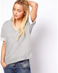 ASOS Collection Sweatshirt with Ribbed Curved Hem gray - Lyst