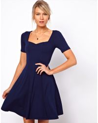 ASOS Collection Skater Dress with Sweetheart Neck and Short Sleeves - Lyst
