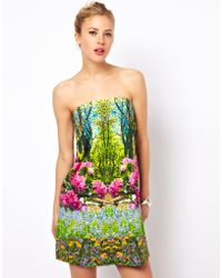 ASOS Collection Bandeau Dress in Summer Forest Print - Lyst