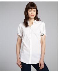 Burberry Brit White Stretch Cotton Button Front Blouse - Lyst