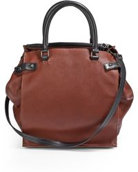 Costume National Pebbled Leather Top Handle Bag - Lyst