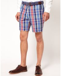 Asos Slim Fit Shorts in Check - Lyst