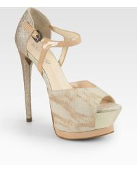 Boutique 9 | Nerissa Snakeprint Leather Glitter Platform Pumps | Lyst