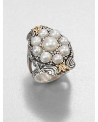 Konstantino - Cultured Pearl Sterling Silver and 18k Yellow Gold Ring - Lyst