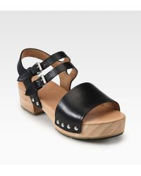 Marc By Marc Jacobs Leather Wooden Clog Sandals - Lyst