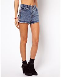 Asos Petite High Waist Denim Shorts in Acid Wash with Side Lattice Detail - Lyst