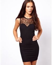 Asos Petite Exclusive Bodycon Dress with Lace Cut Out Back Dress - Lyst
