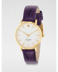 Kate Spade Goldtone Stainless Steel Alligator Embossed Leather Watch - Lyst