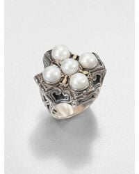 Konstantino - Cultured Pearl Sterling Silver and 18k Yellow Gold Cross Ring - Lyst
