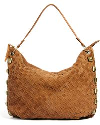 River Island Weave Slouch Tote with Studs brown - Lyst