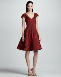 Zac Posen Floral Jacquard A Line Dress - Lyst