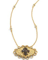 Belargo - Twotone Fleur De Lis Medallion Pendant Necklace - Lyst