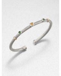 David Yurman - Citrine Green Tourmaline Sterling Silver and 18k Yellow Gold Bracelet - Lyst