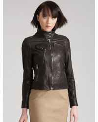 D&G Cropped Leather Bomber Jacket - Lyst